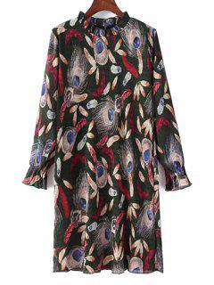 Feather Print Ruff Collar Long Sleeve Dress - Black L