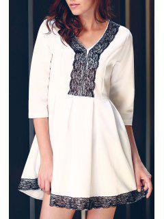 Vestido De Encaje Escotado 3/4 Combinada - Blanco S