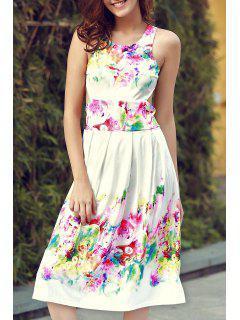 Sans Manches Imprimé Floral Cutout Sundress - Blanc Xl