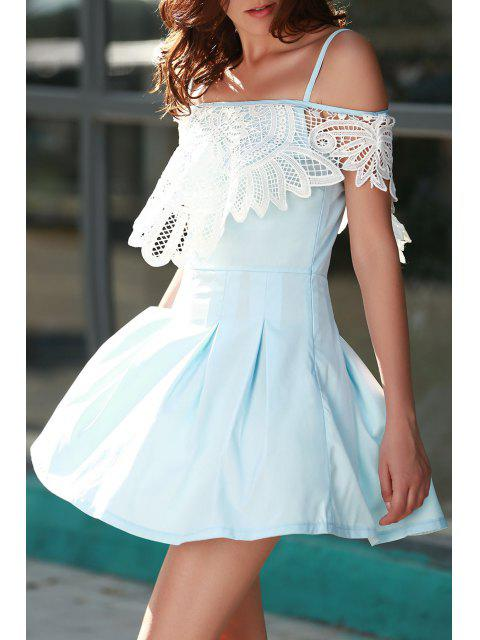 women Cami Lace Spliced A Line Dress - LIGHT BLUE XL Mobile