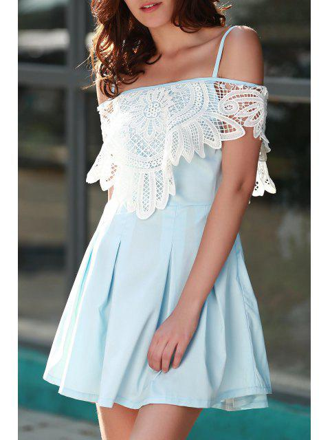affordable Cami Lace Spliced A Line Dress - LIGHT BLUE S Mobile