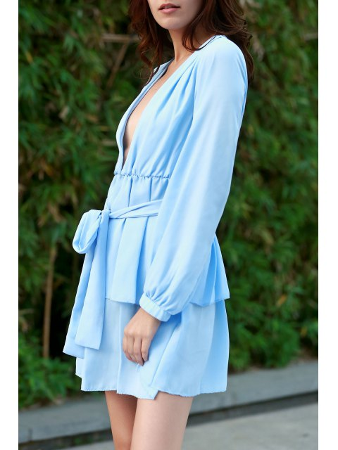 chic Ashton Plunging Ruffle Dress - LIGHT BLUE L Mobile