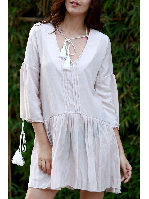 outfits Pleated Front Flared Tunic Dress - APRICOT S Mobile