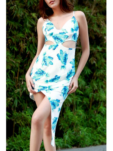 chic Hawaiian Green Print Cami Asymmetrical Bodycon Dress - WHITE XL Mobile