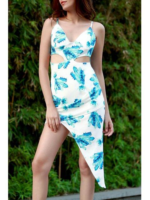 trendy Hawaiian Green Print Cami Asymmetrical Bodycon Dress - WHITE M Mobile