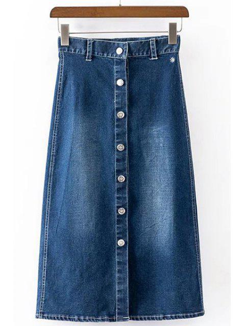 Breve abotonado una línea falda para las mujeres - Azul Profundo XL Mobile