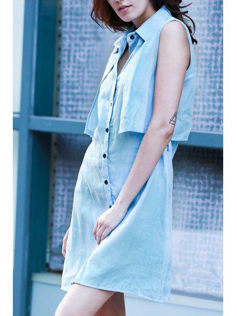 Light Blue Denim gira giù Abito senza maniche - Azzurro L Mobile