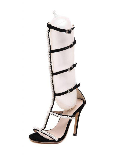 affordable Beading Buckles Stiletto Heel Sandals - BLACK 36 Mobile