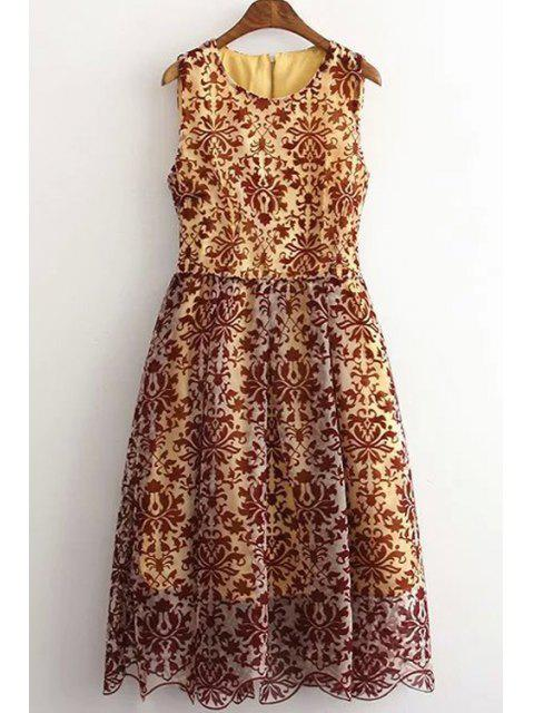 women Sleeveless Baroque Pattern Lace Dress - COLORMIX L Mobile