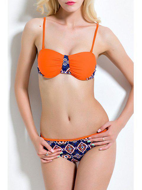 lady Printed Spaghetti Straps Bikini Set - ORANGE S Mobile