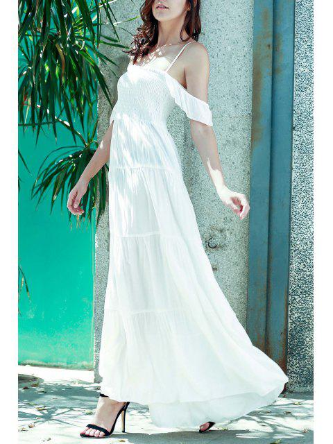 online White Spaghetti Straps A Line Maxi Dress - WHITE M Mobile