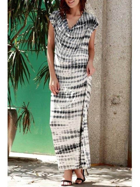chic Striped V Neck Short Sleeve Maxi Dress - GRAY S Mobile