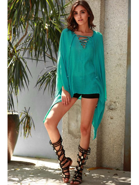 fashion Solid Color V-Neck Long Sleeve Loose Dress - TURQUOISE ONE SIZE(FIT SIZE XS TO M) Mobile