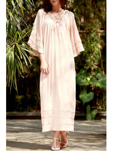 trendy V Neck Lace Panel Smocked Kimono Dress - LIGHT APRICOT PINK M Mobile