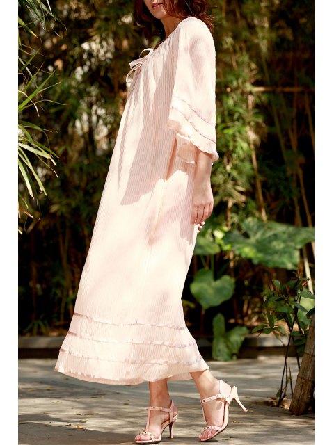 Robe Maxi Kimono Smockée à Empiècement en Dentelle - Rose Abricot Clair M Mobile