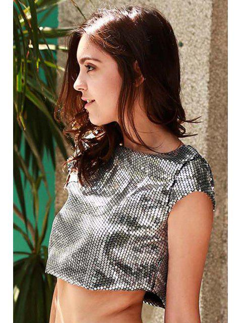 chic Sequins Round Neck Cropped T-Shirt - GRAY M Mobile
