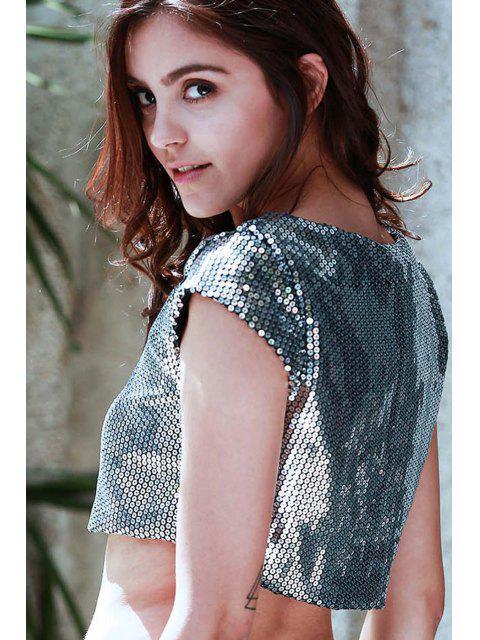 Lentejuelas cuello redondo recortada de la camiseta - Gris L Mobile