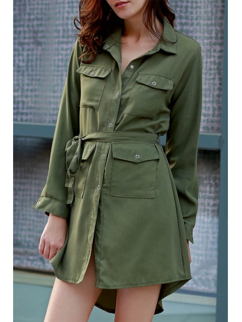 shop Solid Color Long Sleeves Shirt Dress - GRASS GREEN L Mobile