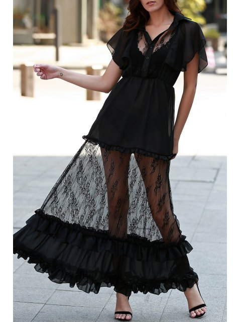 affordable Lace Turn Down Collar See-Through Maxi Dress - BLACK L Mobile