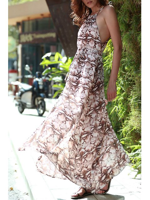 best Print Round Neck Sleeveless Maxi Dress - COFFEE M Mobile