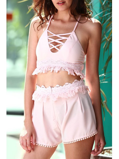 buy Pink Cami Crop Top and Tassels Shorts Suit - LIGHT PINK S Mobile