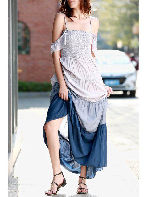 lady Ombre Color Spaghetti Straps Maxi Dress - GRAY L Mobile