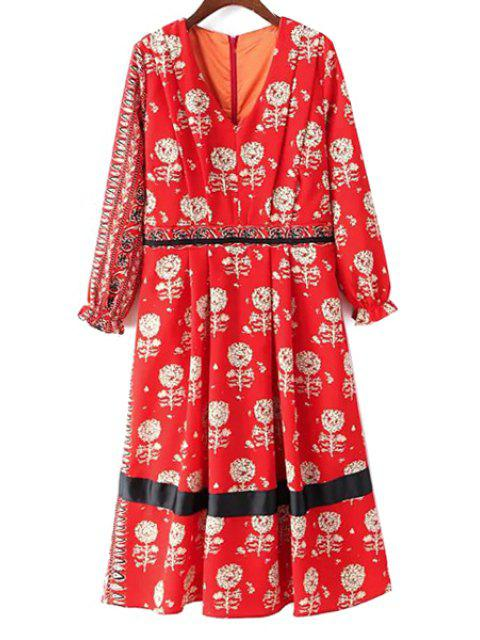 hot Dandelion Print V-Neck Long Sleeve Dress - RED M Mobile