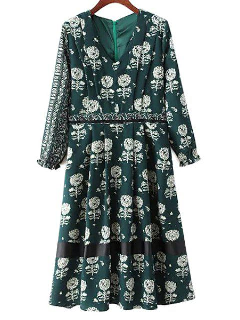 new Dandelion Print V-Neck Long Sleeve Dress - GREEN L Mobile