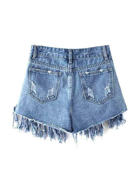 latest Tassels Spliced High Waisted Denim Shorts - LIGHT BLUE XL Mobile