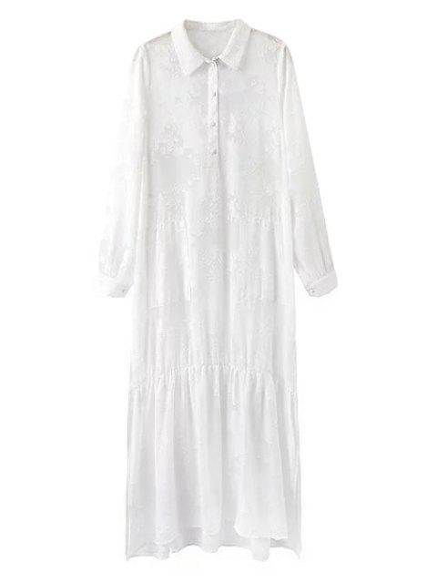 shops High Slit Shirt Collar Long Sleeve White Dress - WHITE L Mobile