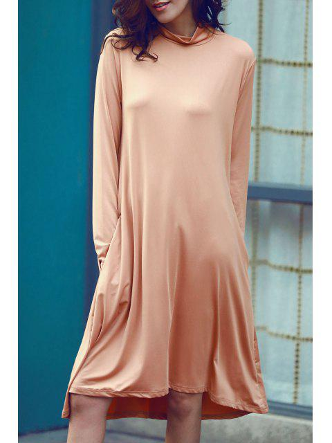 women Pure Color Turtle Neck Long Sleeve Loose Dress - ORANGE 3XL Mobile