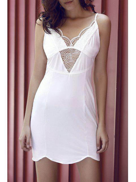 buy Lace Spliced Cami Bodycon Dress - WHITE XL Mobile
