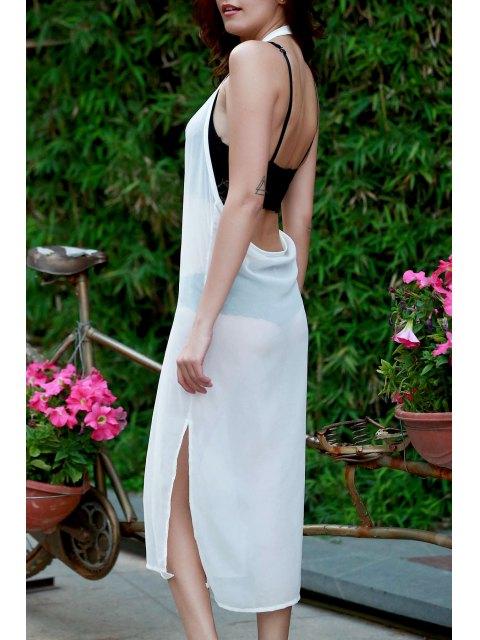 chic Sleeveless Side Vent Chiffon Dress - WHITE L Mobile