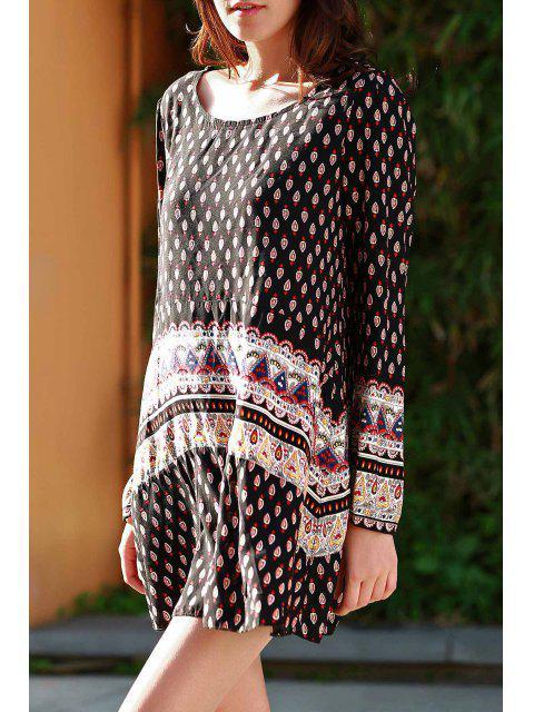 fashion Long Sleeve Floral Print Tunic Dress - BLACK L Mobile