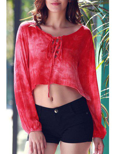 Tie Dye Lace Up Crop Top - Red