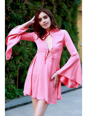 Hollow Out Flare Sleeve A-Line Dress - Watermelon Red S