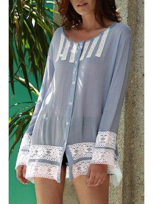 Lace Spliced V Neck Long Sleeve Shirt Dress - Light Blue L
