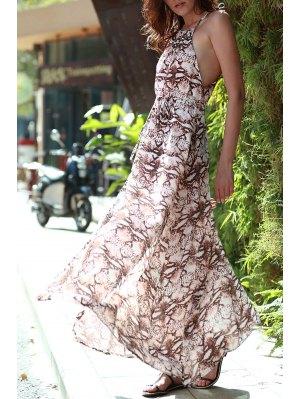 Print Round Neck Sleeveless Maxi Dress - Coffee M