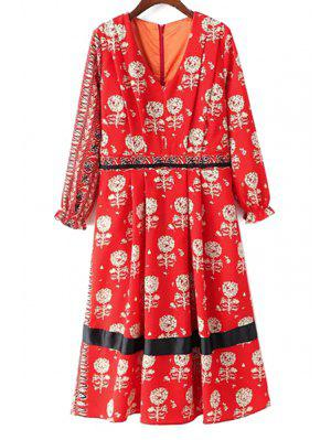 Dandelion Print V-Neck Long Sleeve Dress - Red M