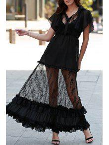 Lace Turn Down Collar See-Through Maxi Dress - Noir S