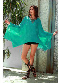 Solid Color V-Neck Long Sleeve Loose Dress - Turquoise