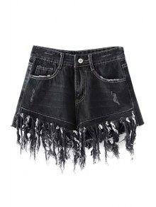 Buy Tassels Spliced High Waisted Denim Shorts - BLACK XL