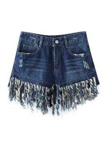 Buy Tassels Spliced High Waisted Denim Shorts - DEEP BLUE M