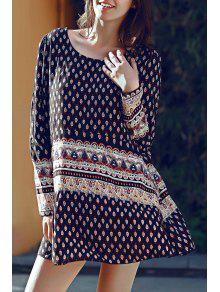 Long Sleeve Floral Print Tunic Dress - Black L