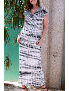 Striped V Neck Short Sleeve Maxi Dress - Gray S