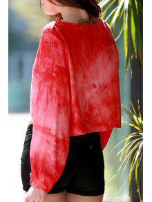 Manga Cuello Hundiendo Larga Naranja Blusa M Rojo 6wqfERUE
