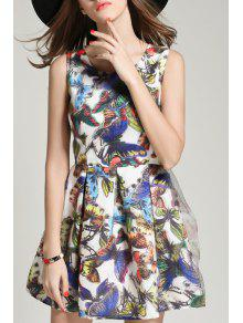 Buy Butterfly Print Round Collar Sleeveless Dress - COLORMIX S