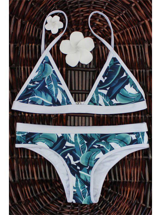 affordable High-Cut Leaf Print Bikini Set - COLORMIX M