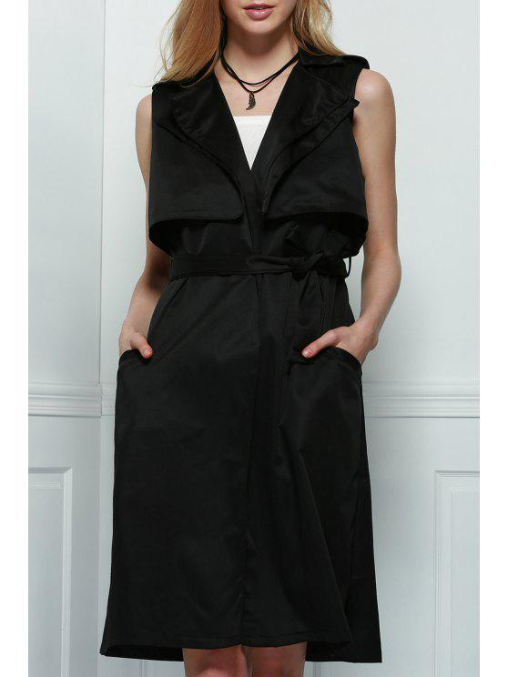 shop Trench Style Tie Belt Waistcoat - BLACK S