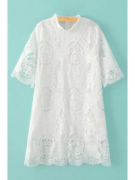 539a5278ceac97 25% OFF] 2019 Openwork Stand Collar 3/4 Sleeve Lace Dress In WHITE ...